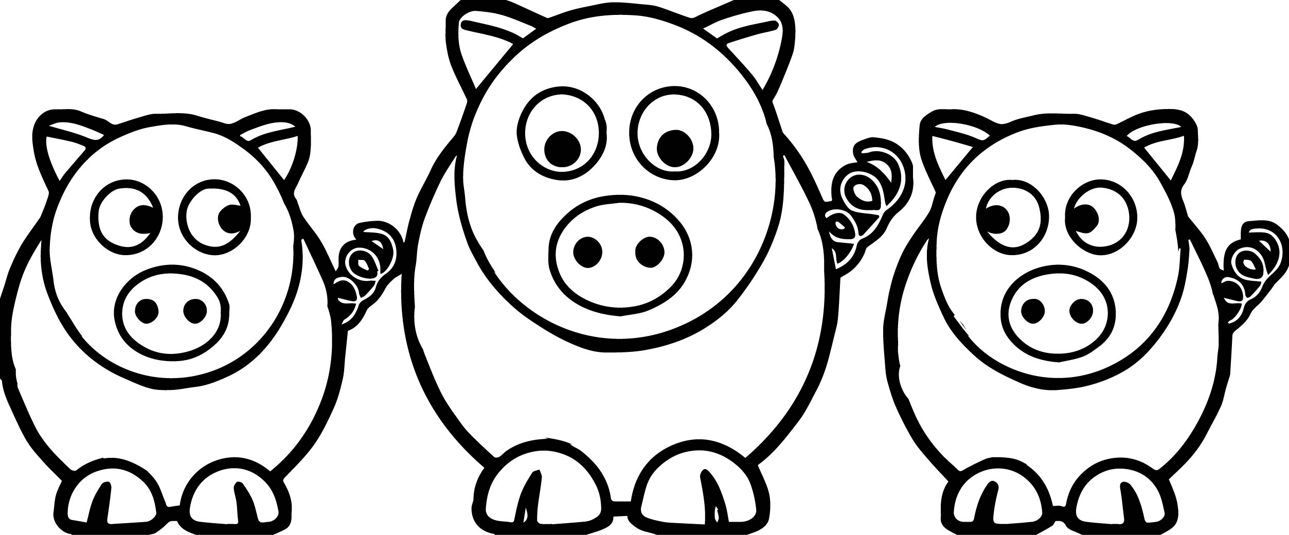 Coloring pages 3 little pigs - 3 Little Pigs Look Coloring Page