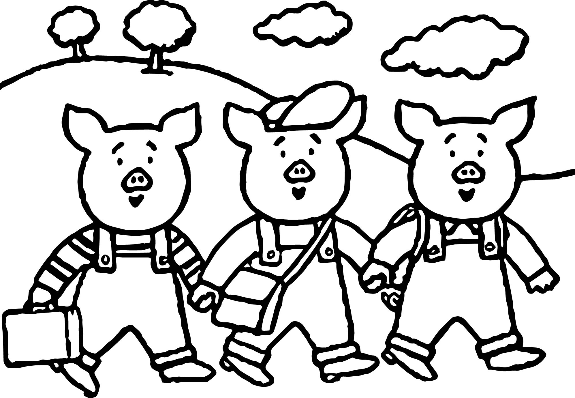 Coloring pages 3 little pigs - 3 Little Pigs School Coloring Page