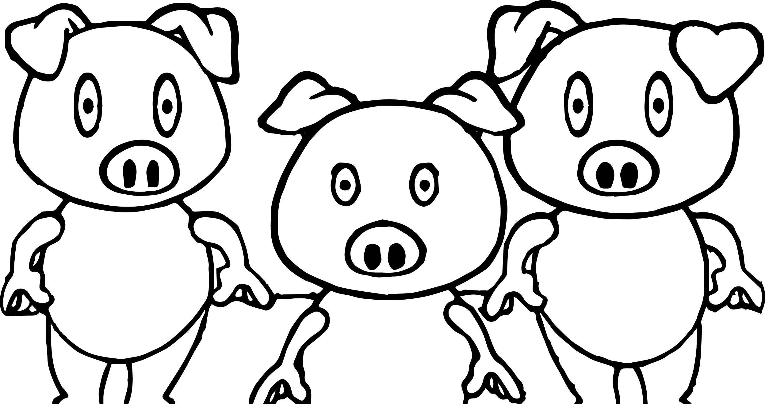 Coloring pages 3 little pigs - 3 Little Pigs Shock Coloring Page