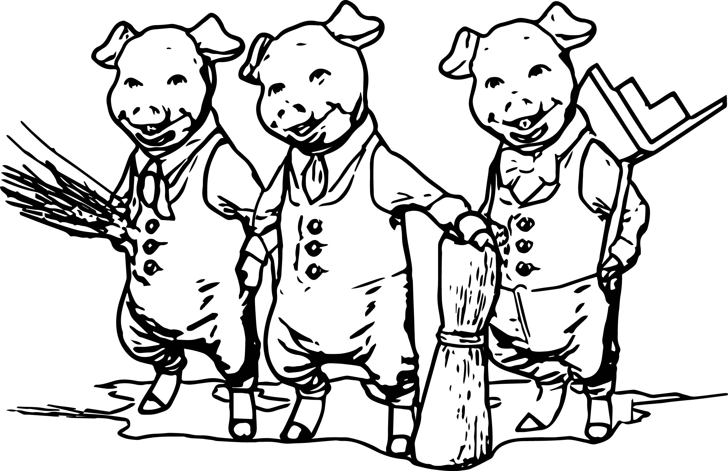 3 little pigs together coloring page wecoloringpage