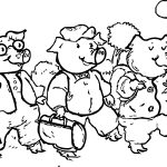 3 Little Pigs Walking Coloring Page