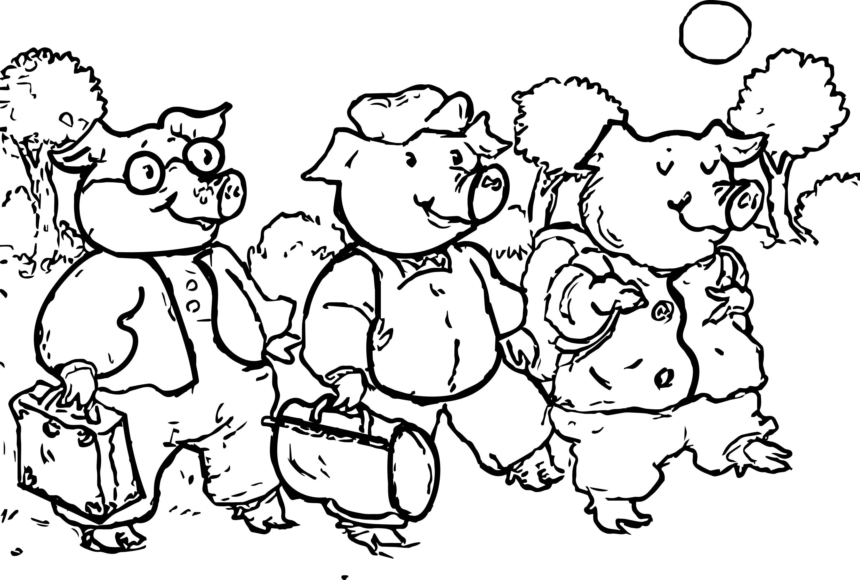 3 little pigs walking coloring page wecoloringpage
