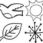 4 Seasons Bird Leaf Sun Snow Coloring Page
