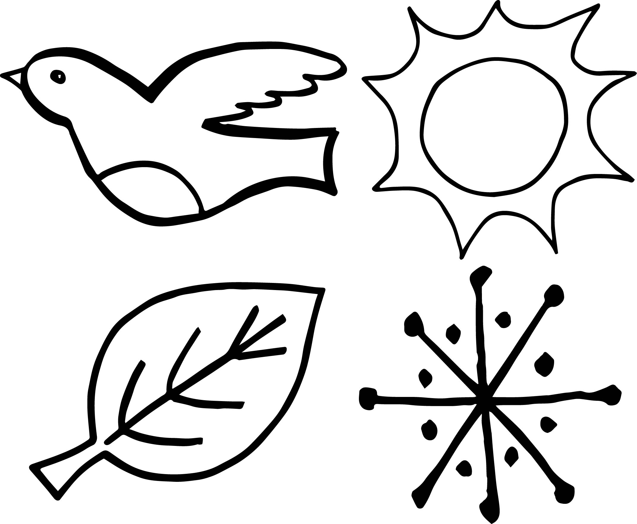 4 seasons bird leaf sun snow coloring page for Seasons coloring pages