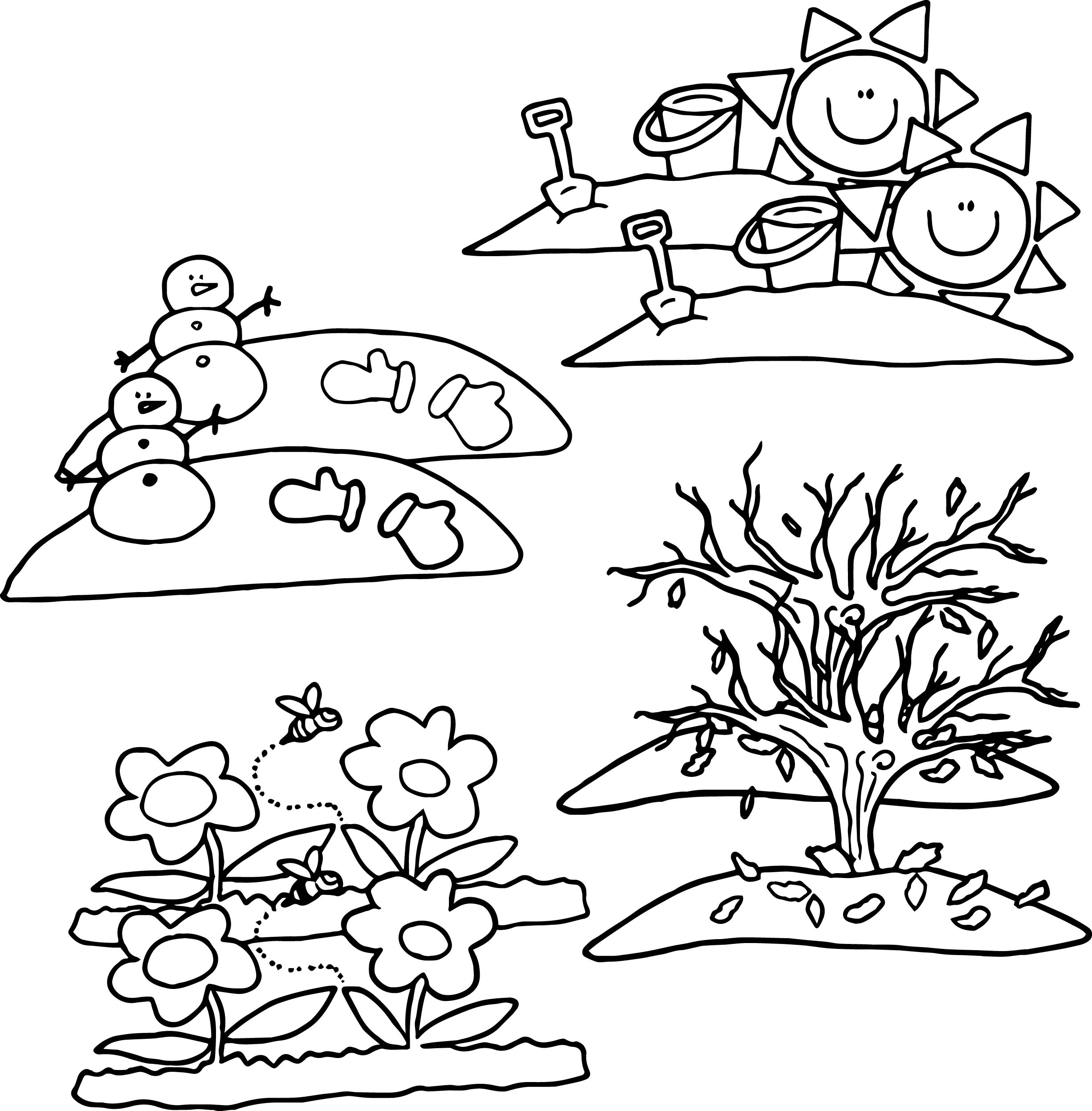 4 seasons cartoon coloring page for Seasonal coloring pages