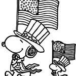 4th July Snoopy Coloring Page