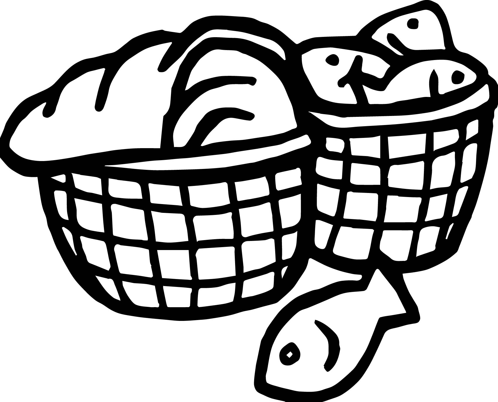5 loaves and 2 fish bucket coloring page for Five loaves and two fishes coloring page