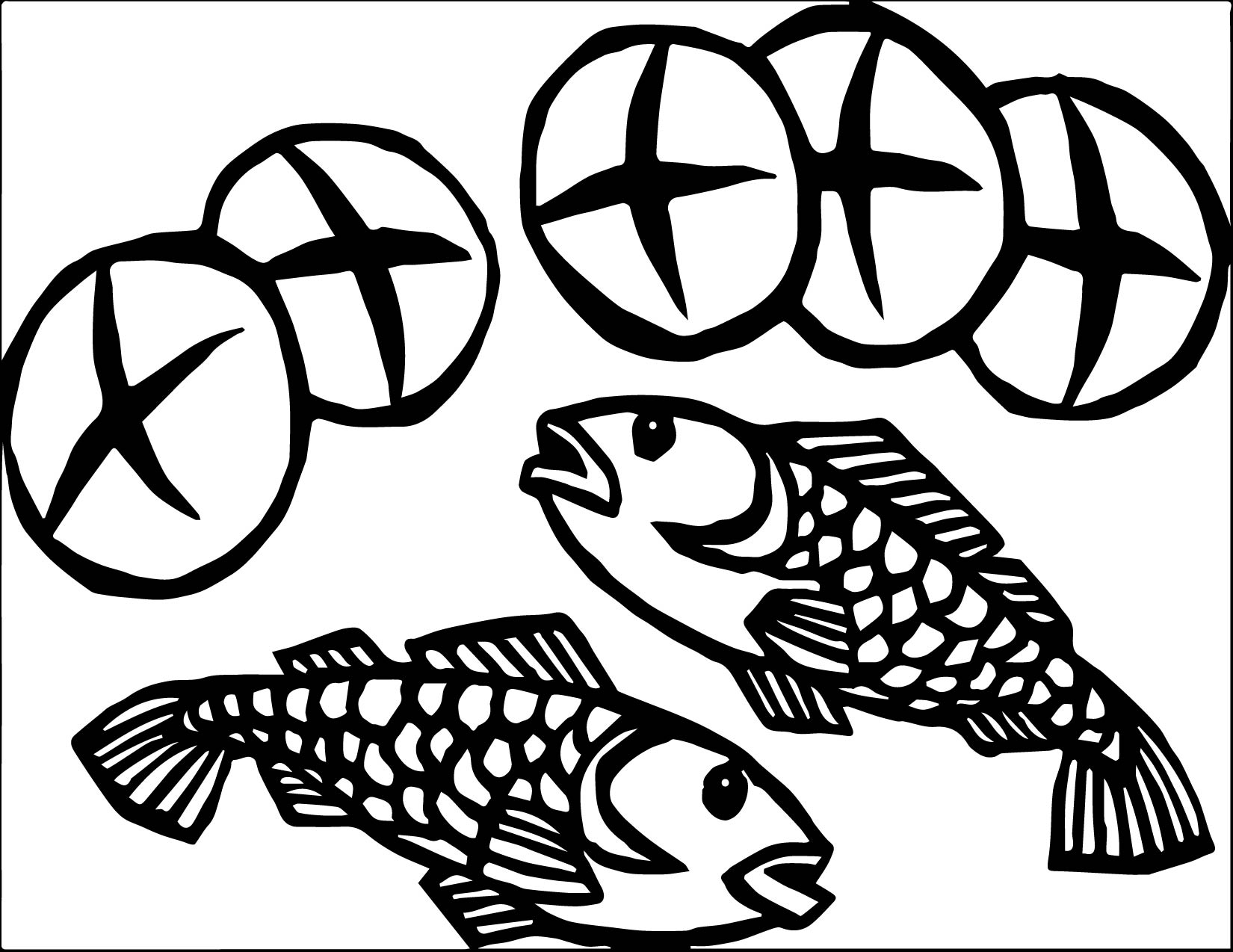 5 loaves and 2 fish coloring page - Fish Coloring Pages 2