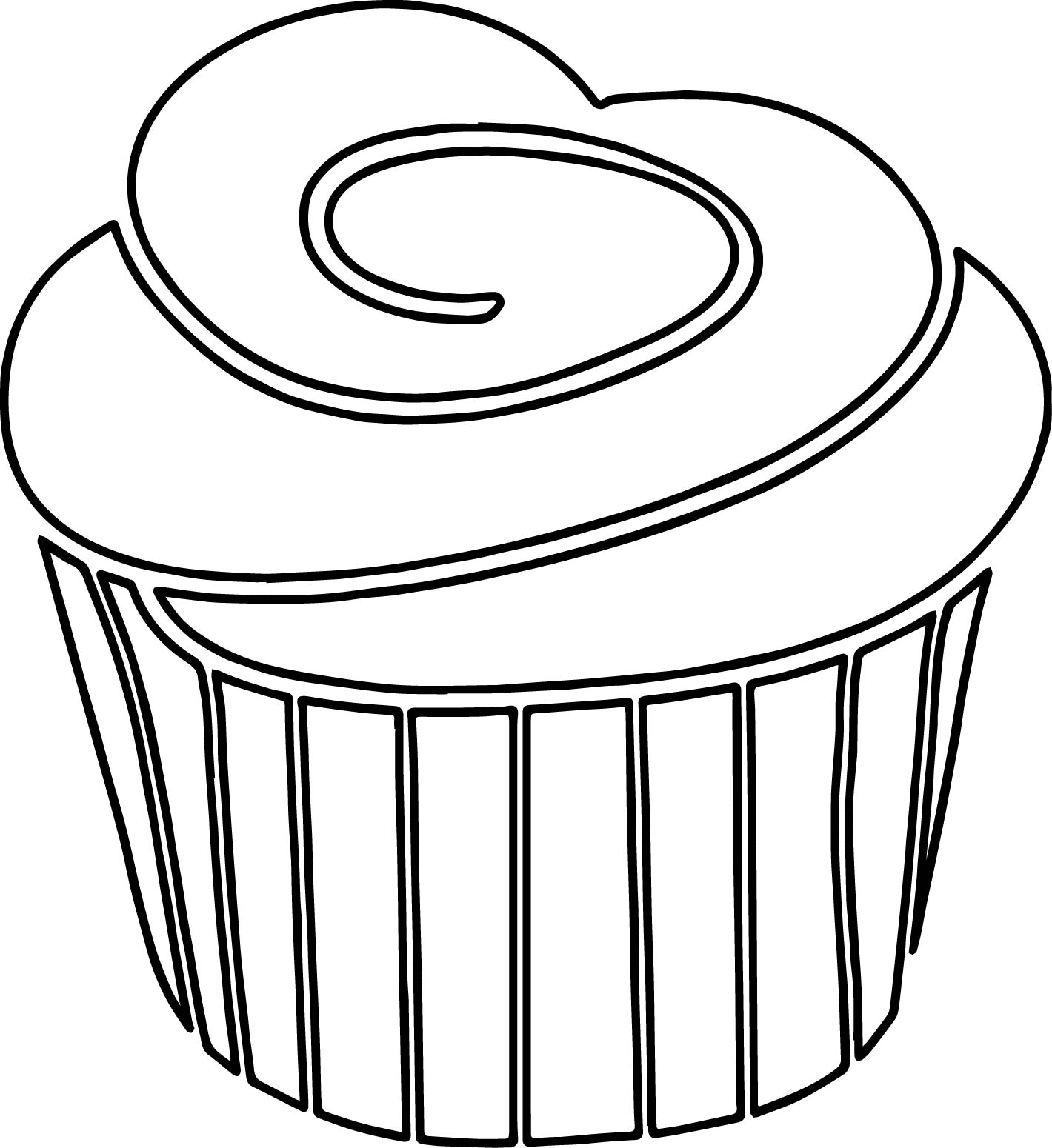 a strawberry cupcake with black white outline frosting on top