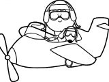 Airplane Child And Dog Coloring Page
