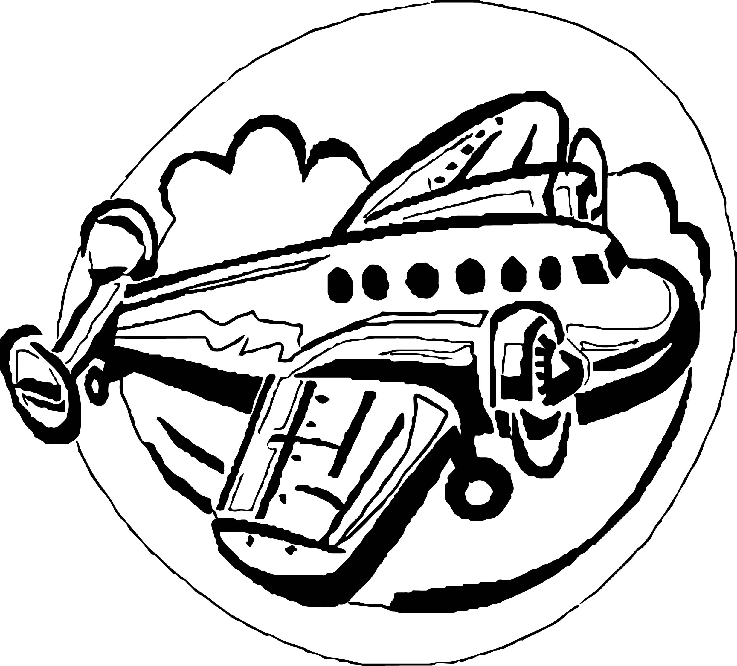 Airplane Circle Coloring Page