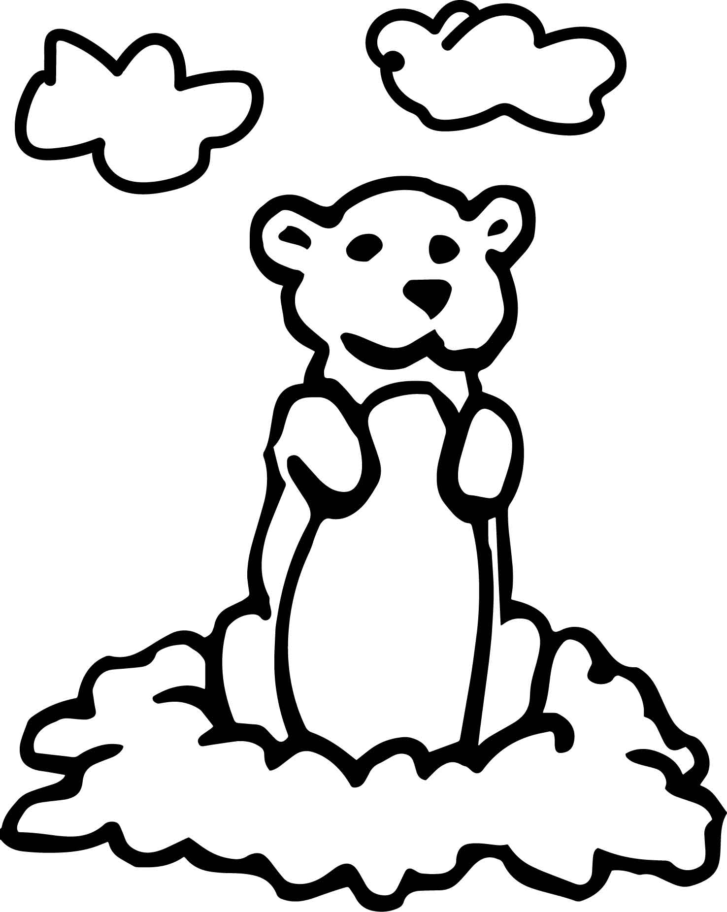Basic Cartoon Groundhog Day Coloring Page