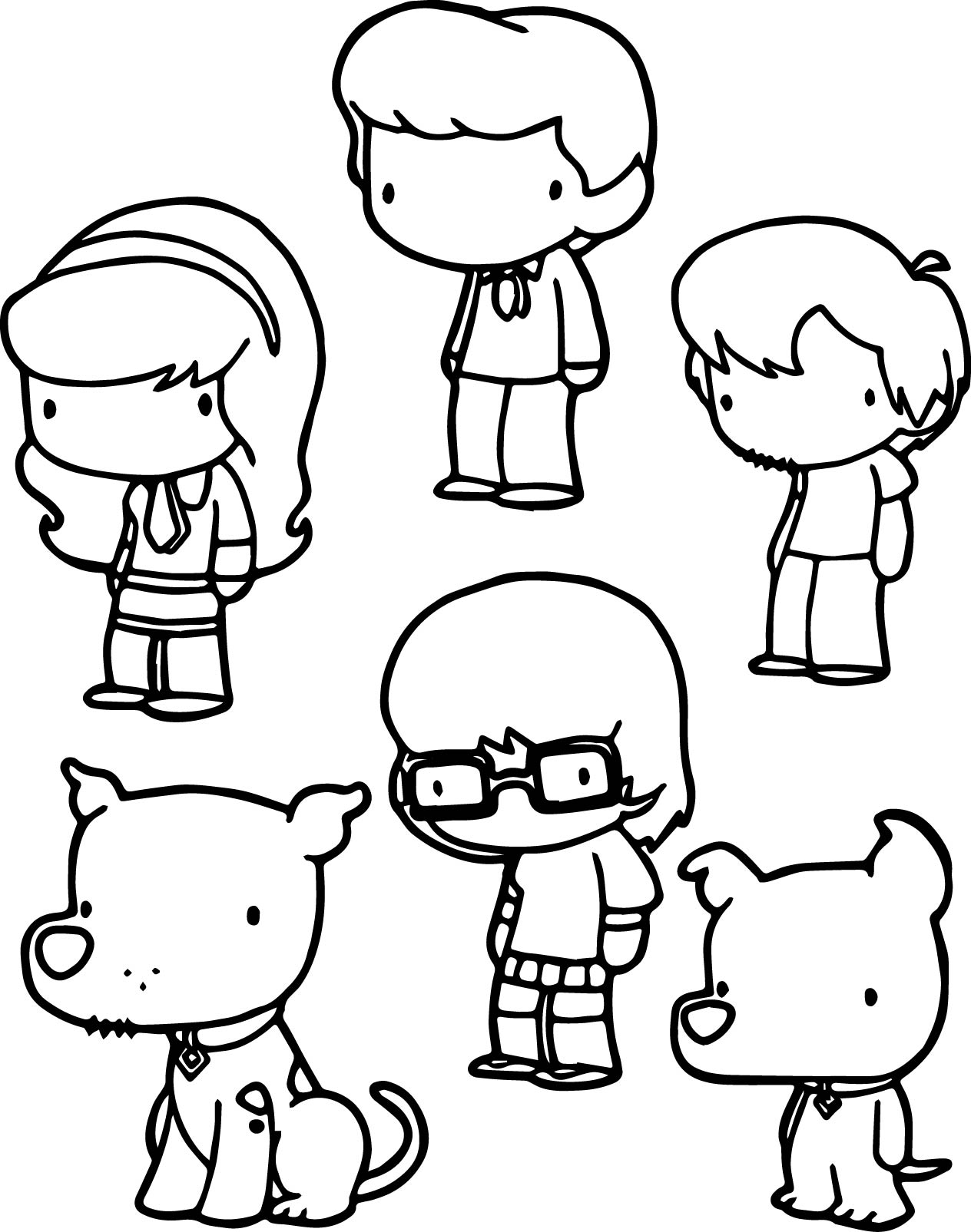 Basic scooby doo chibi characters coloring pages for Scooby doo christmas coloring pages