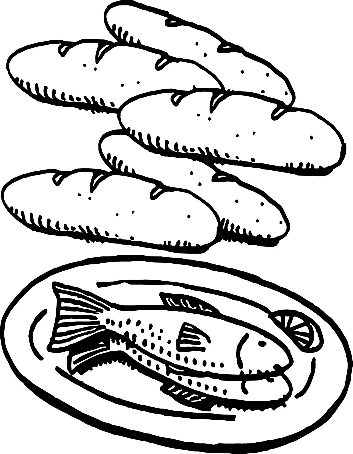 beautiful 5 loaves and 2 fish coloring page wecoloringpage