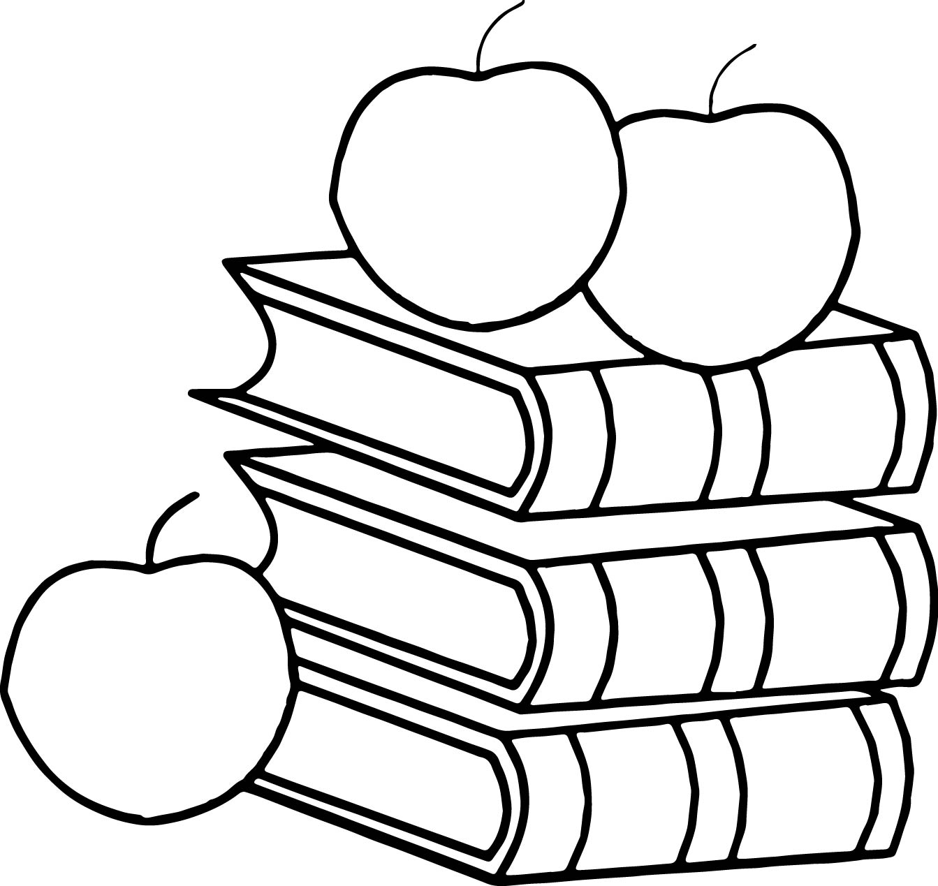Book Apple 3rd Grade Coloring Page
