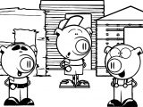 Cartoon 3 Little Pigs Coloring Page