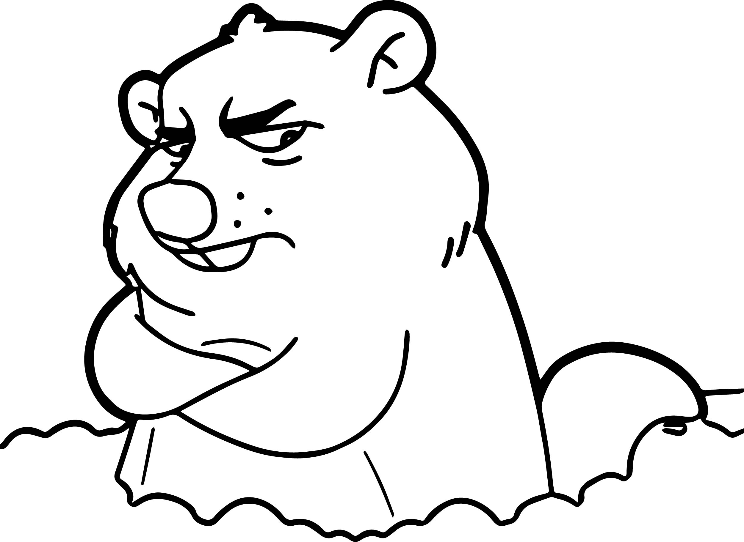 Cartoon Groundhog Day Coloring Page