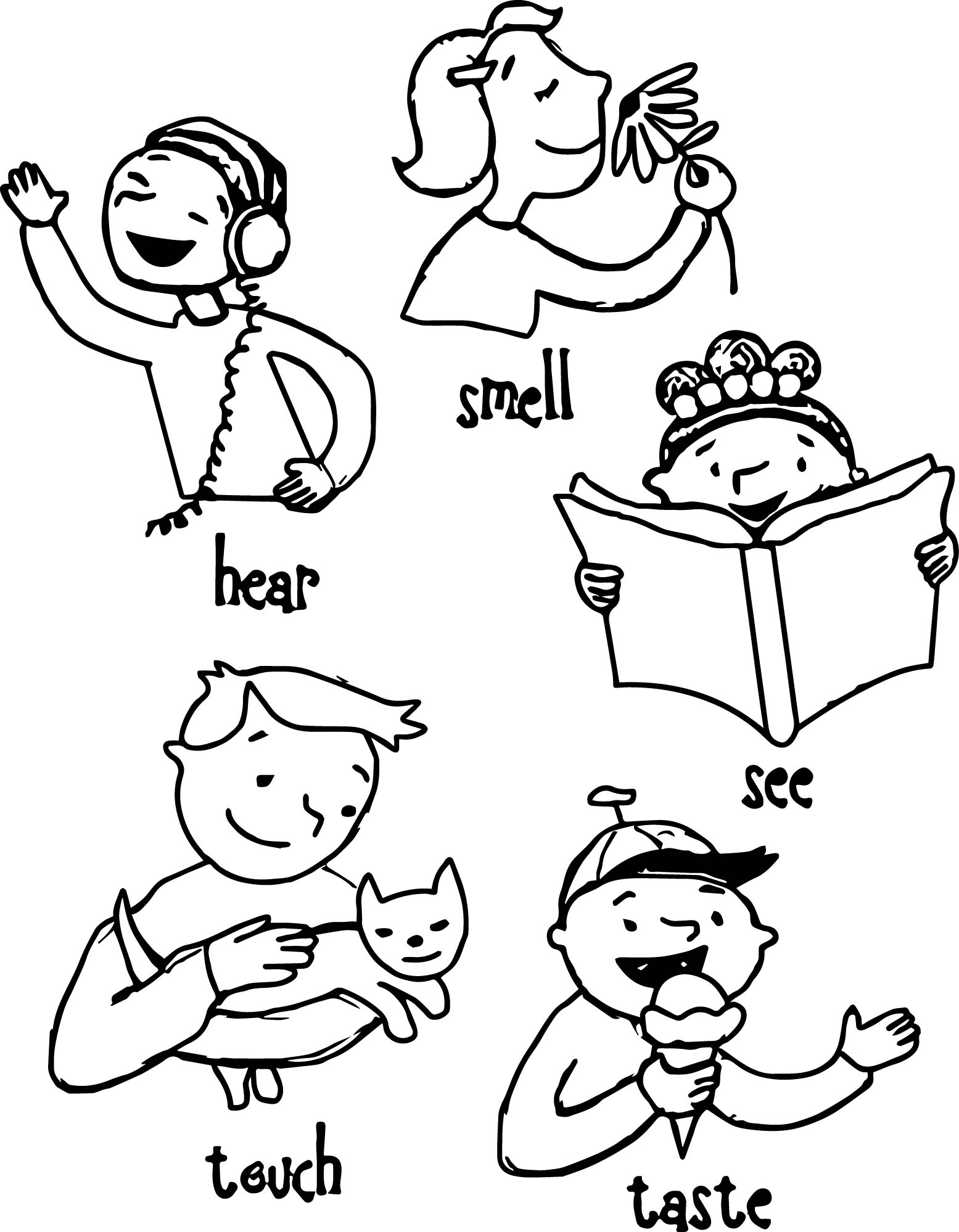 Children 5 Senses Coloring Page