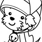Christmas Santa Claus Hat Cute Dog Coloring Page