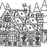 Christmas Santa Claus House Coloring Page
