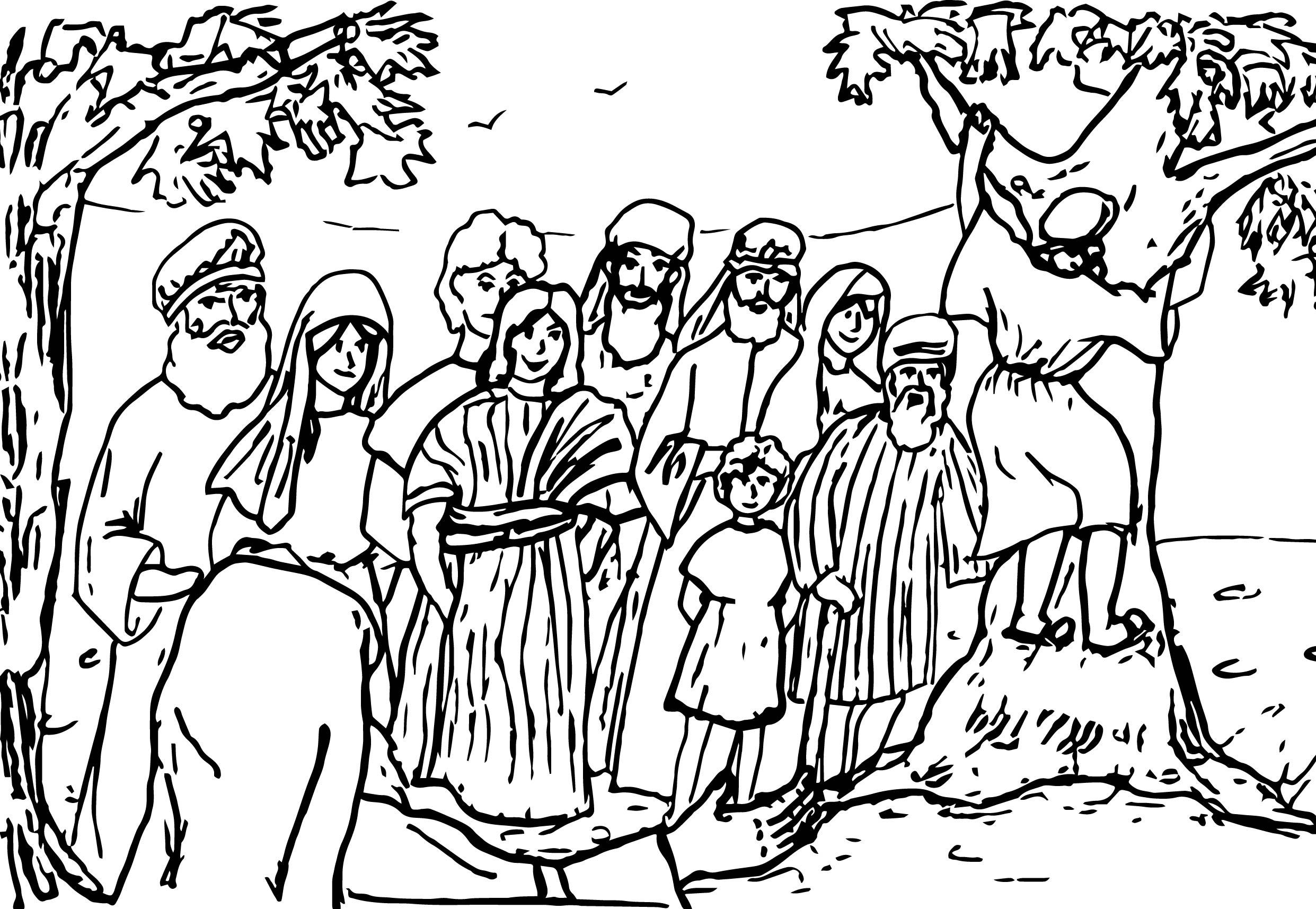 Climb Tree Zacchaeus Jesus Coloring Page