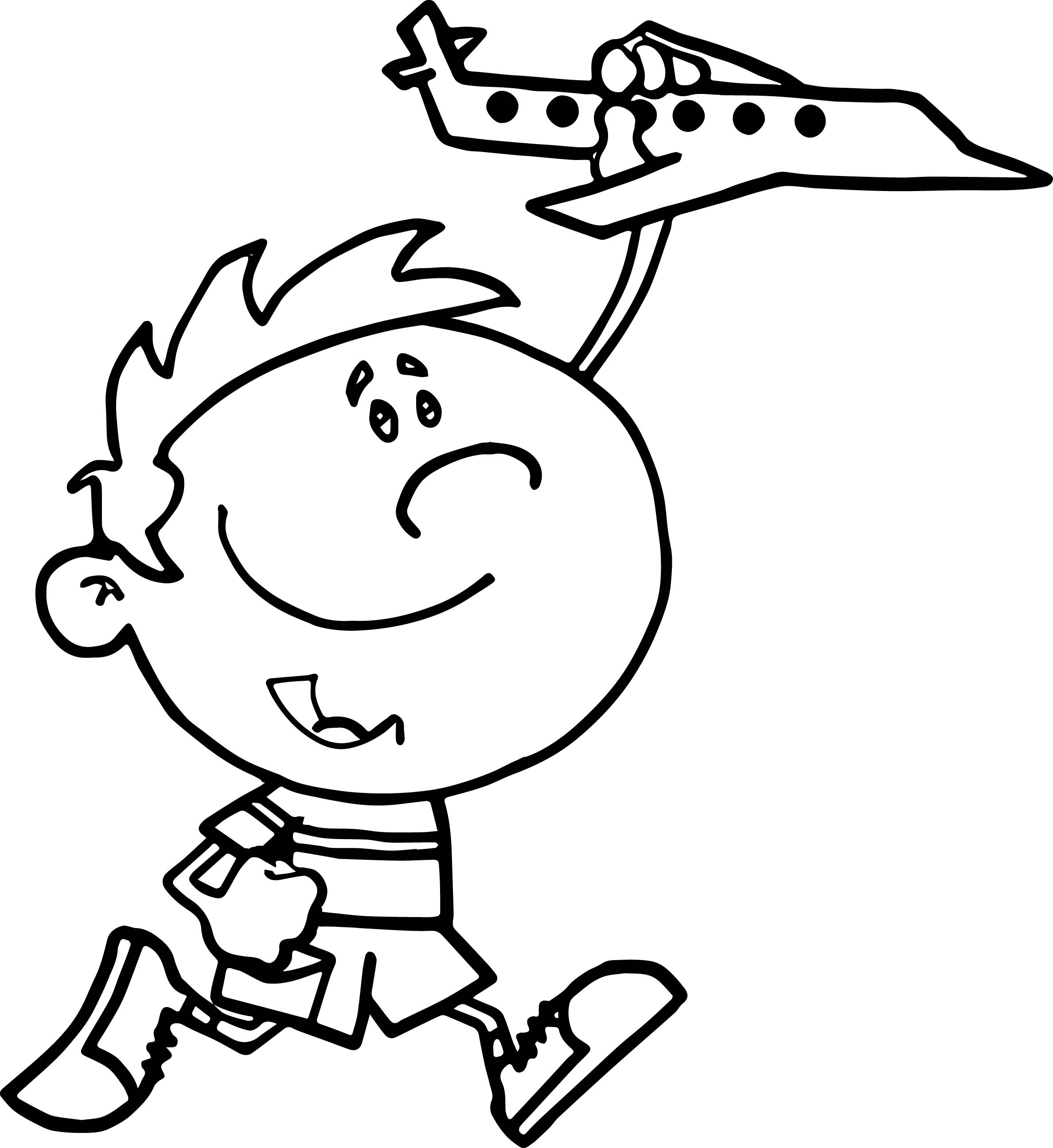 cockpit little boy playing with toy airplane coloring page - Little Boy Coloring Pages