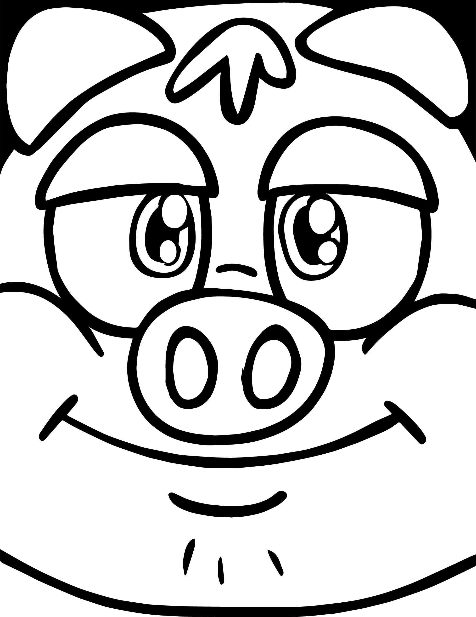 Crazy Face Boy Little Pigs Coloring Page