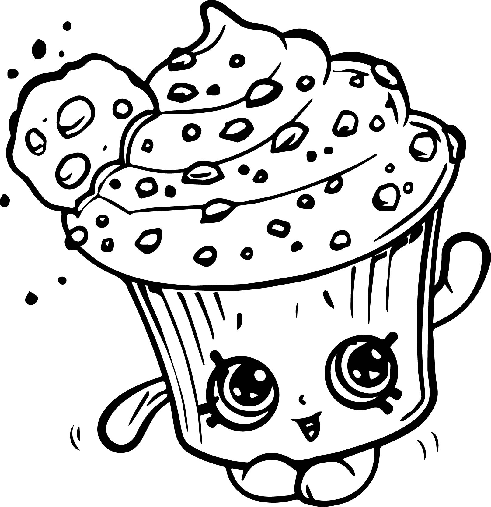 creamy cookie cupcake coloring page