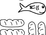 Cute 5 Loaves And 2 Fish Coloring Page