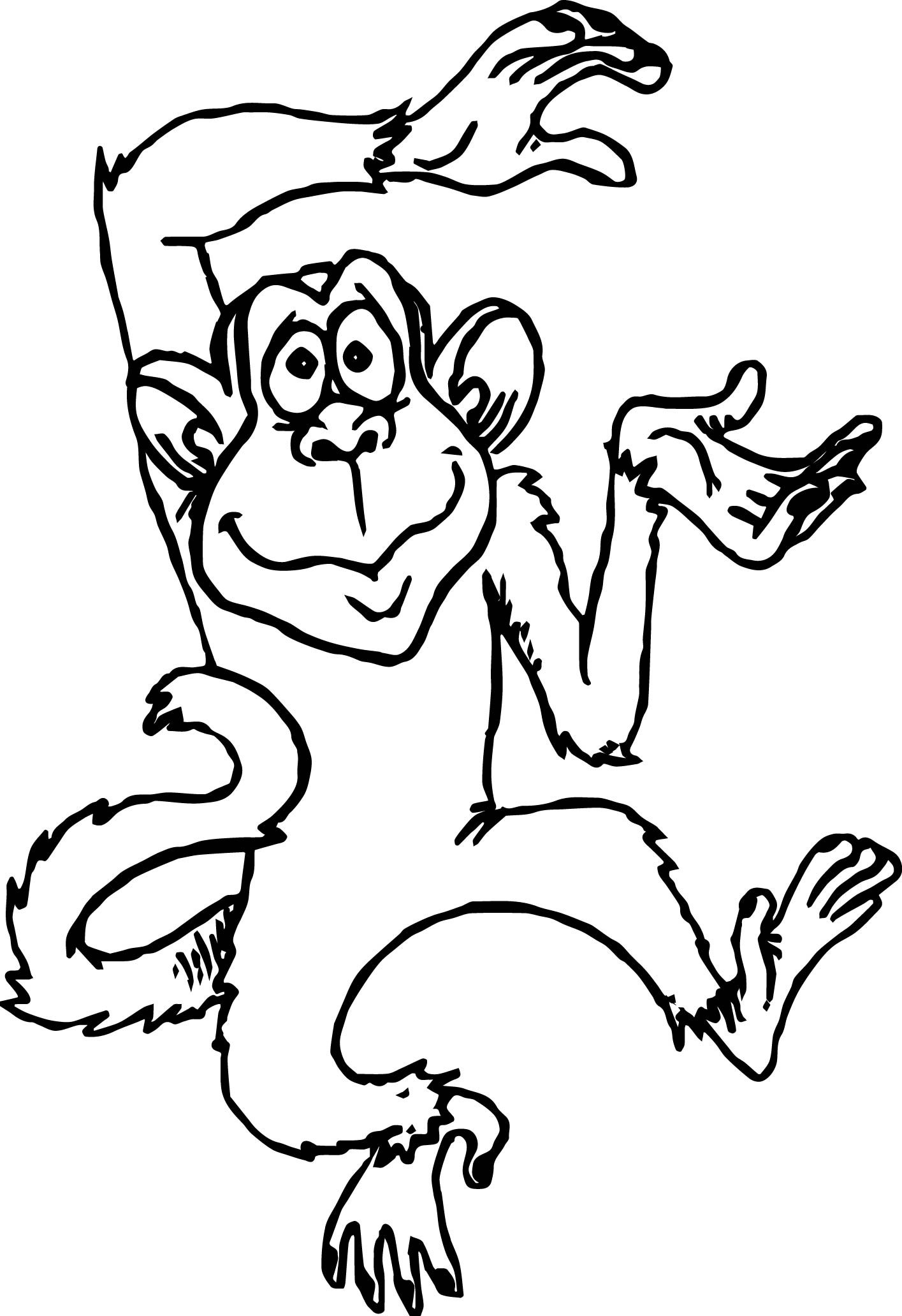 cute monkey cartoons monkey coloring page - Monkey Coloring Pages