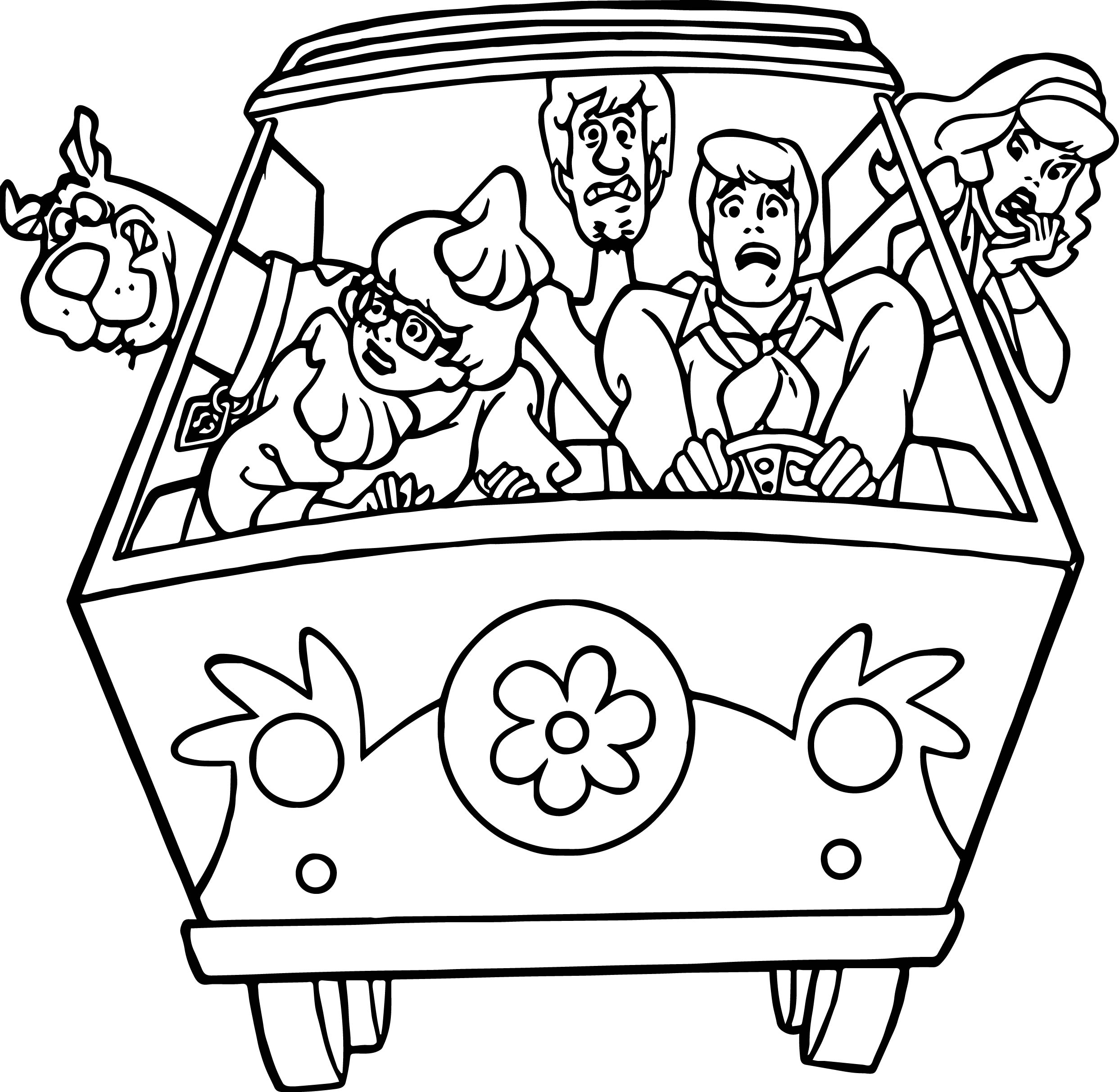 Fast Car Scooby Doo Scream Coloring Page
