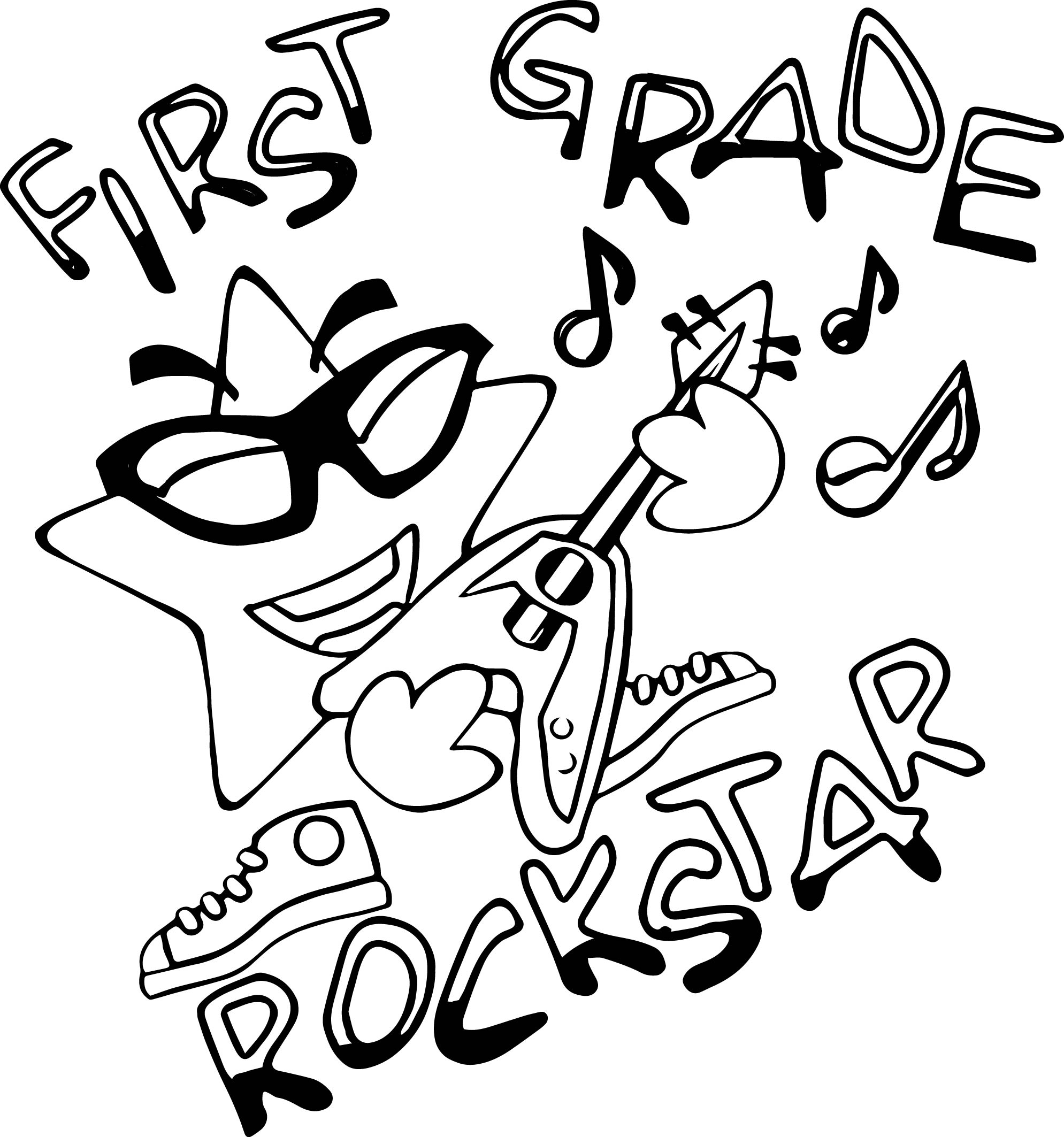 first grade rock star coloring page wecoloringpage