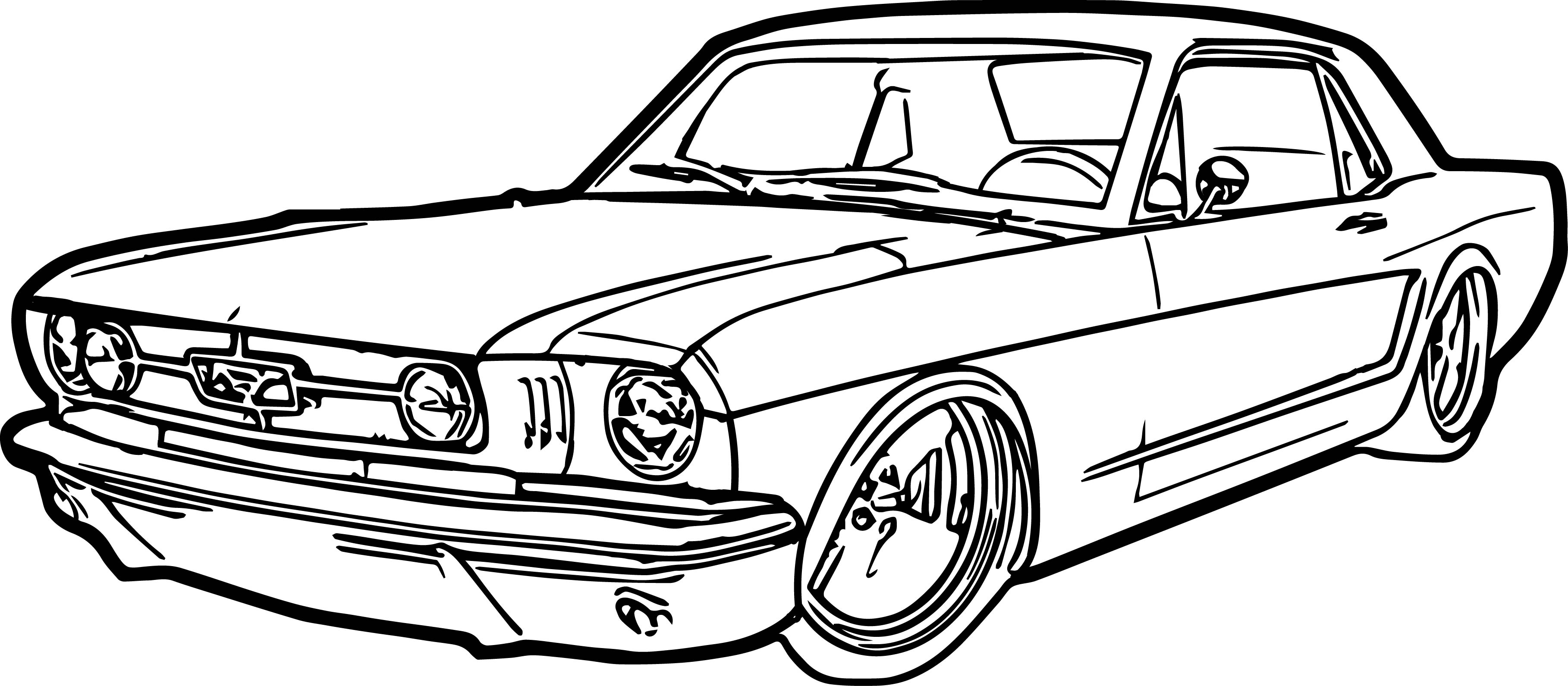 Antique cars coloring pages - Ford Mustang Car Coloring Page