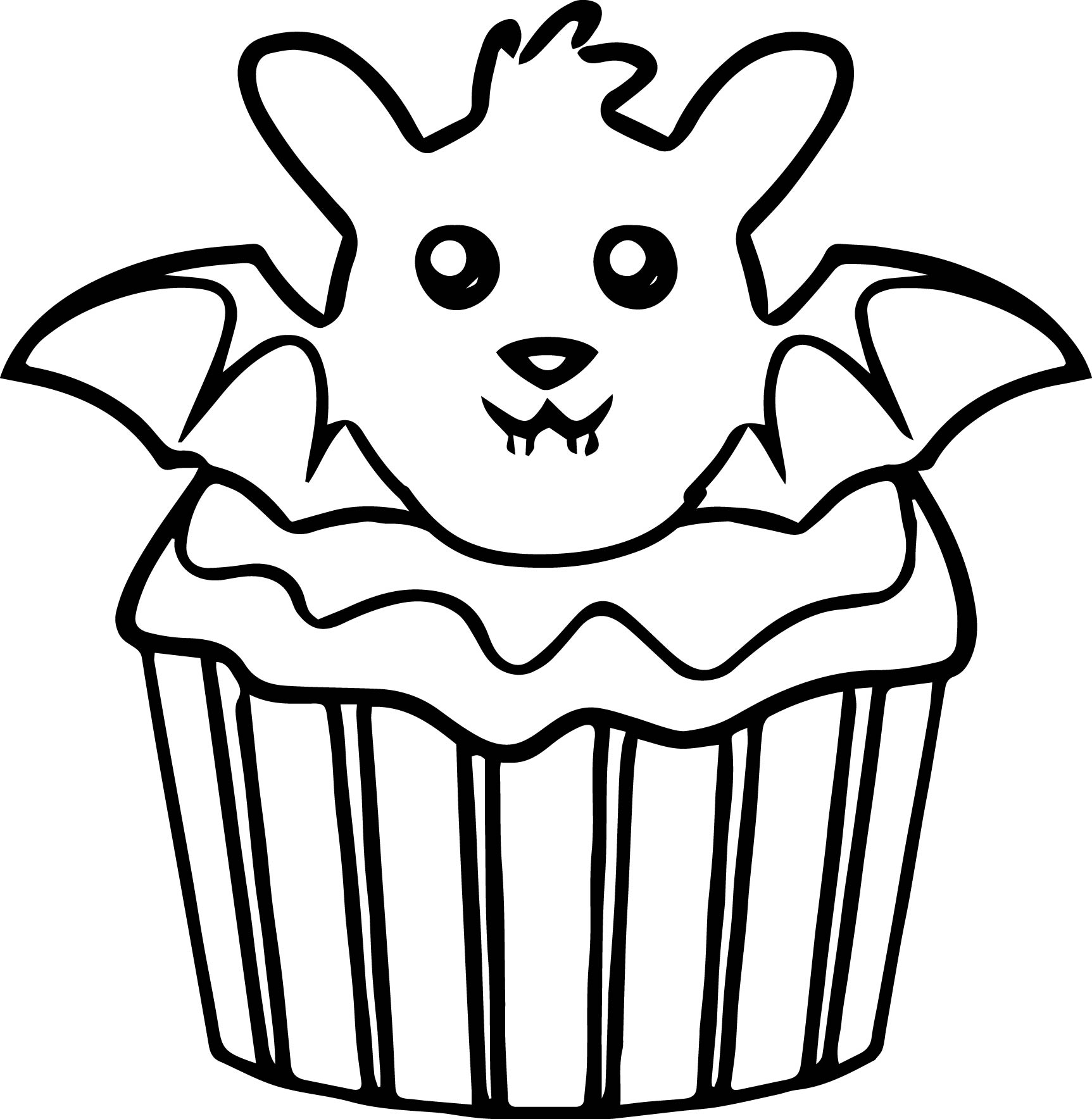 halloween bat cupcake coloring page - Cupcakes Coloring Pages