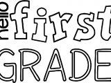 Hello 1st Grade School Text Coloring Page
