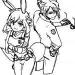 Human Nick Wilde Judy Hopps Bunny Fox Coloring Page