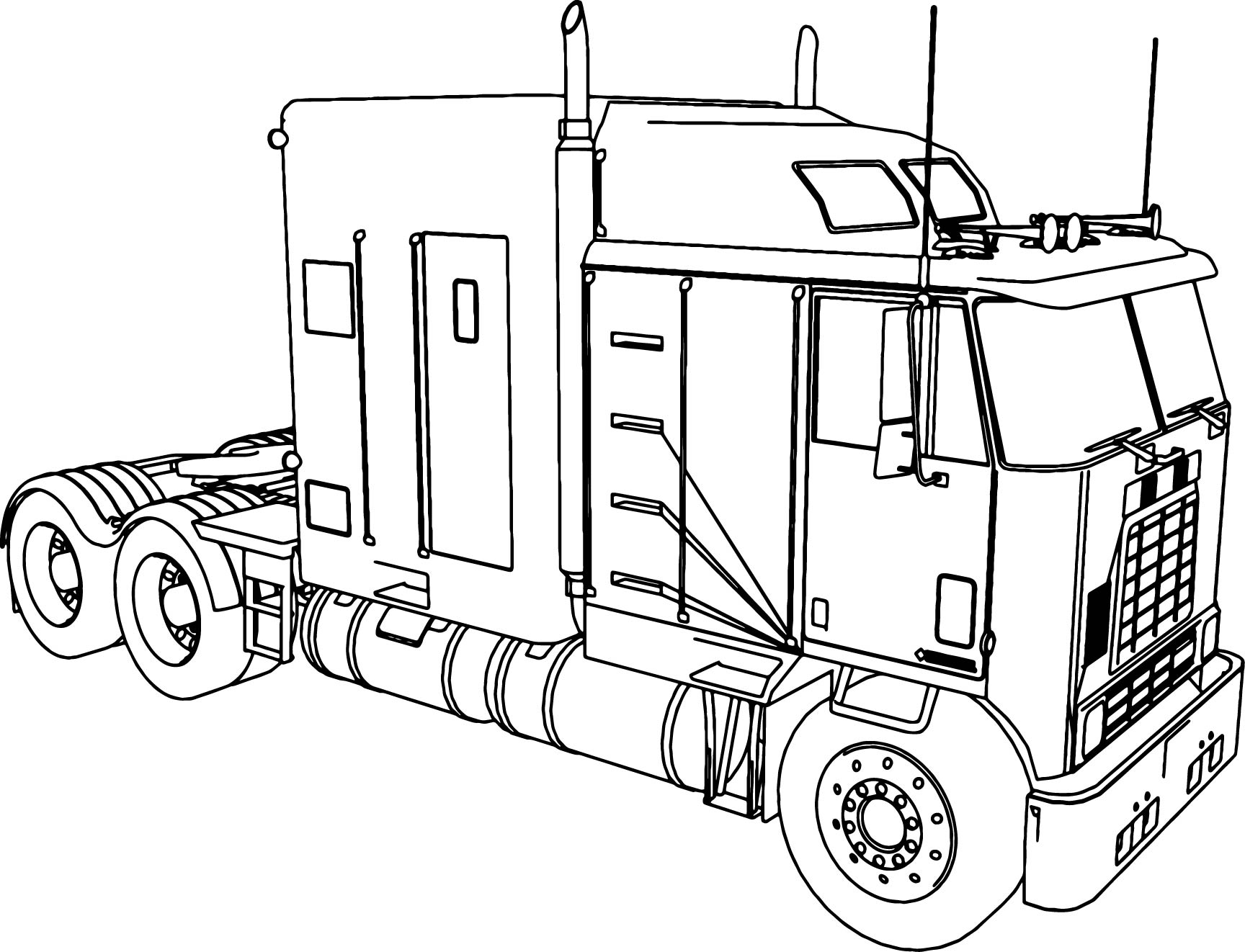 international 9600 long trailer truck coloring page wecoloringpage