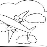 Looking Up At Airplane In Sky Coloring Page