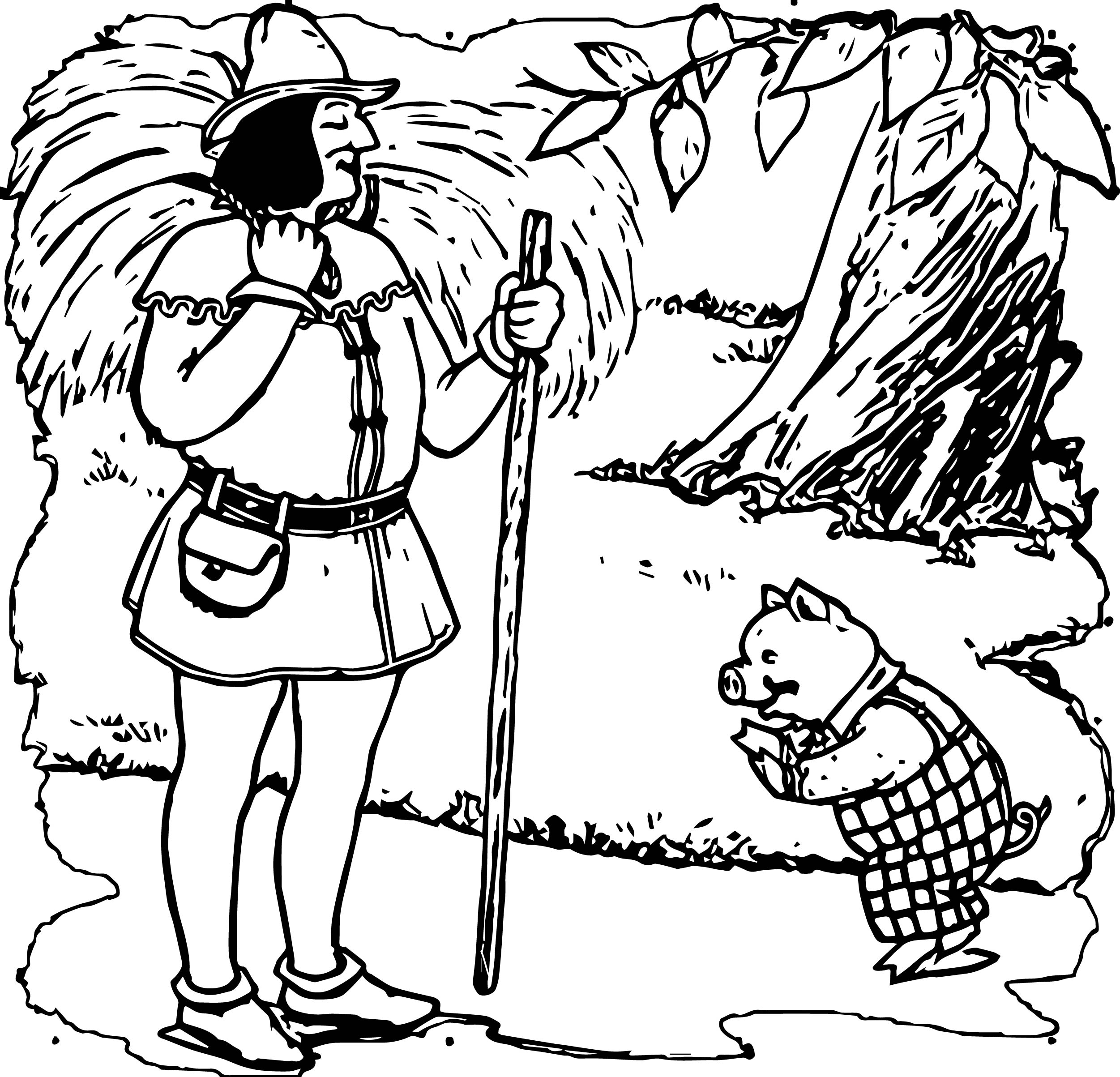 Man And Little Pig Coloring Page