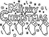 Merry Christmas Sock Text Coloring Page