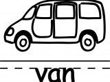 Minibus Van Text Coloring Page