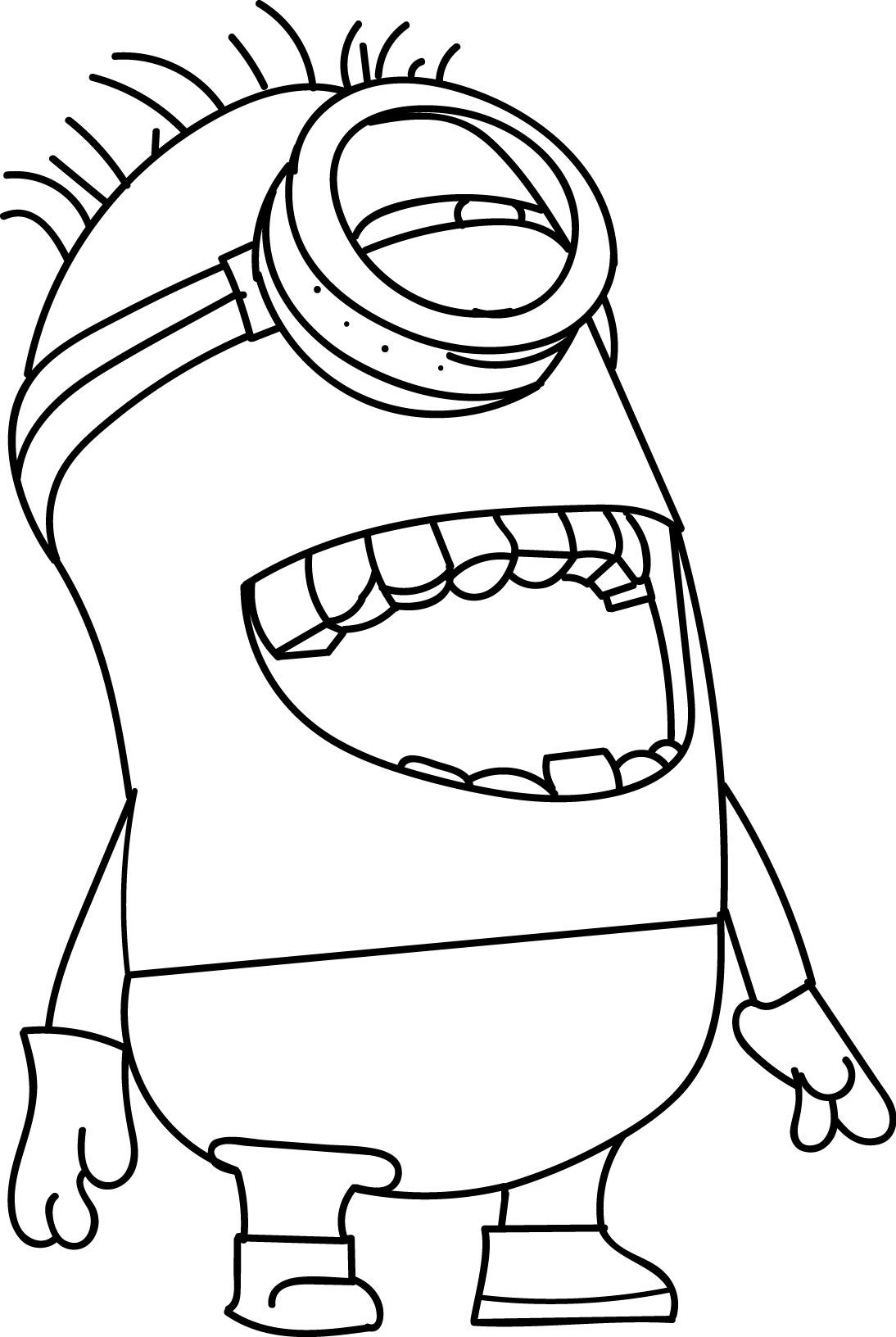 Minion Laugh Coloring Page Wecoloringpage Three Minions Coloring Template