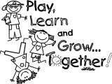 Play Learn And Grow Together 1st Grade School Coloring Page