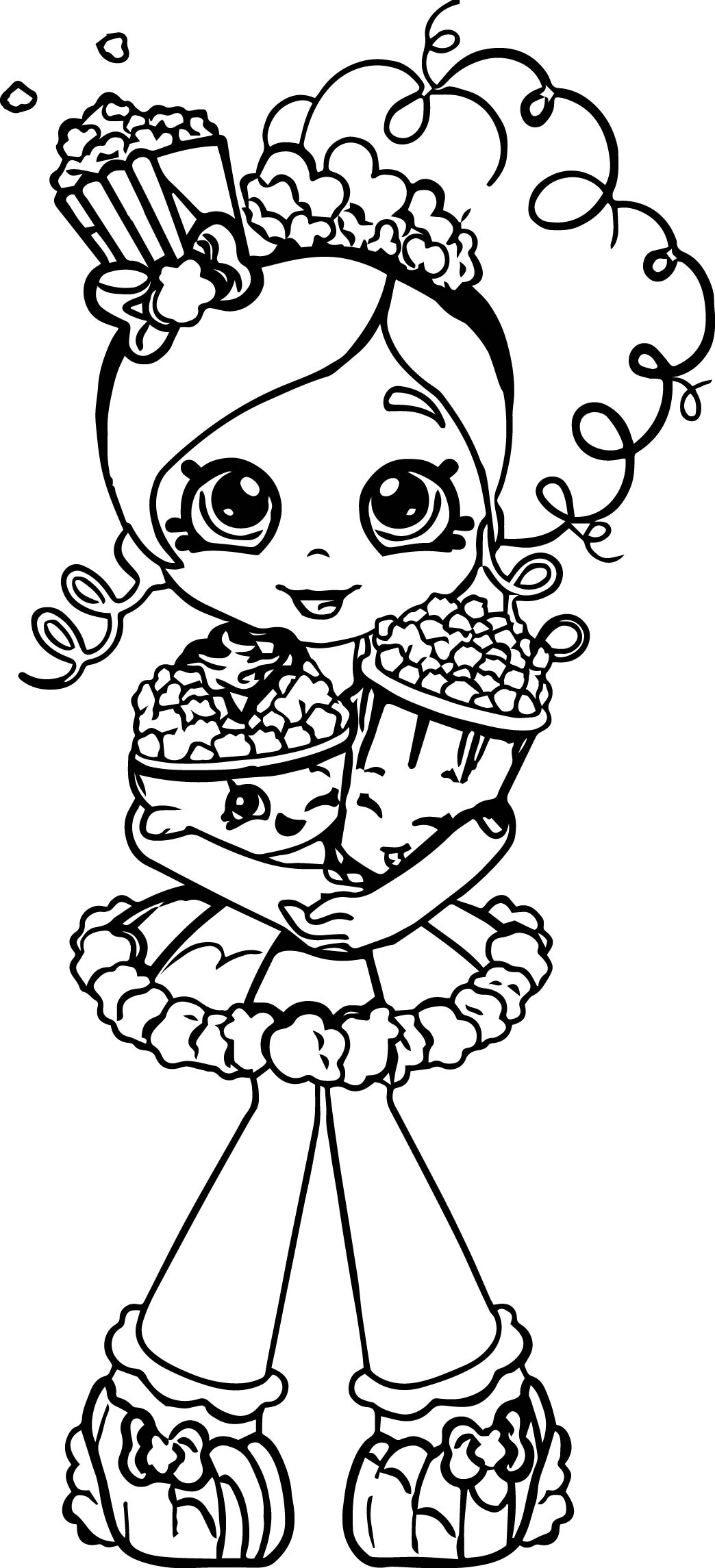 Coloring games of shopkins - Popcorn Shopkins Girl Coloring Page