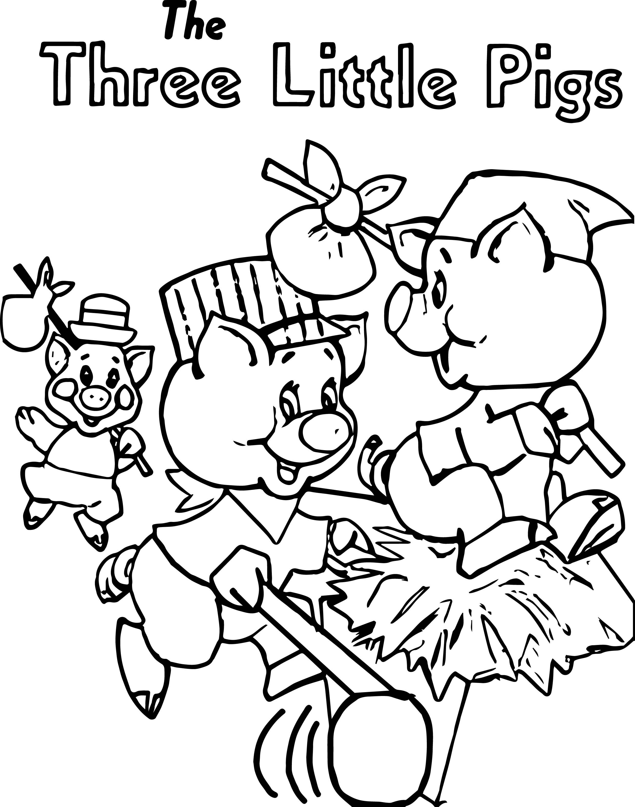 Running The Three Little Pigs Coloring