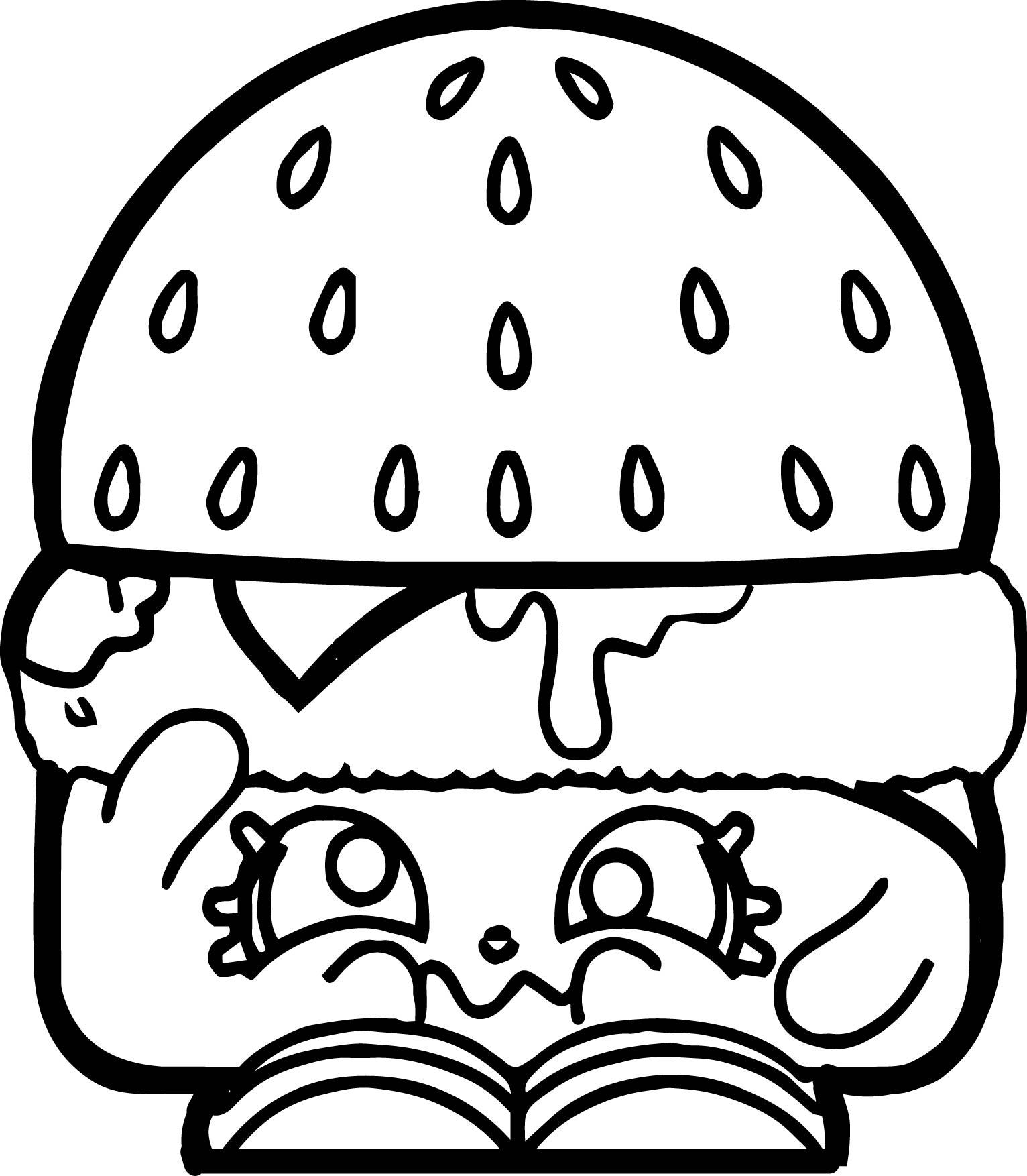 Sad Hamburger Coloring Page