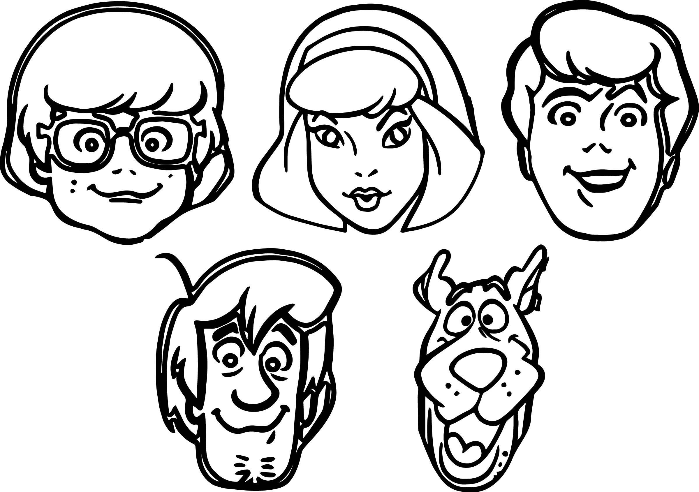 scooby doo all character face coloring page - Scooby Doo Pictures To Colour