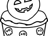 Scream Halloween Cupcake Coloring Page
