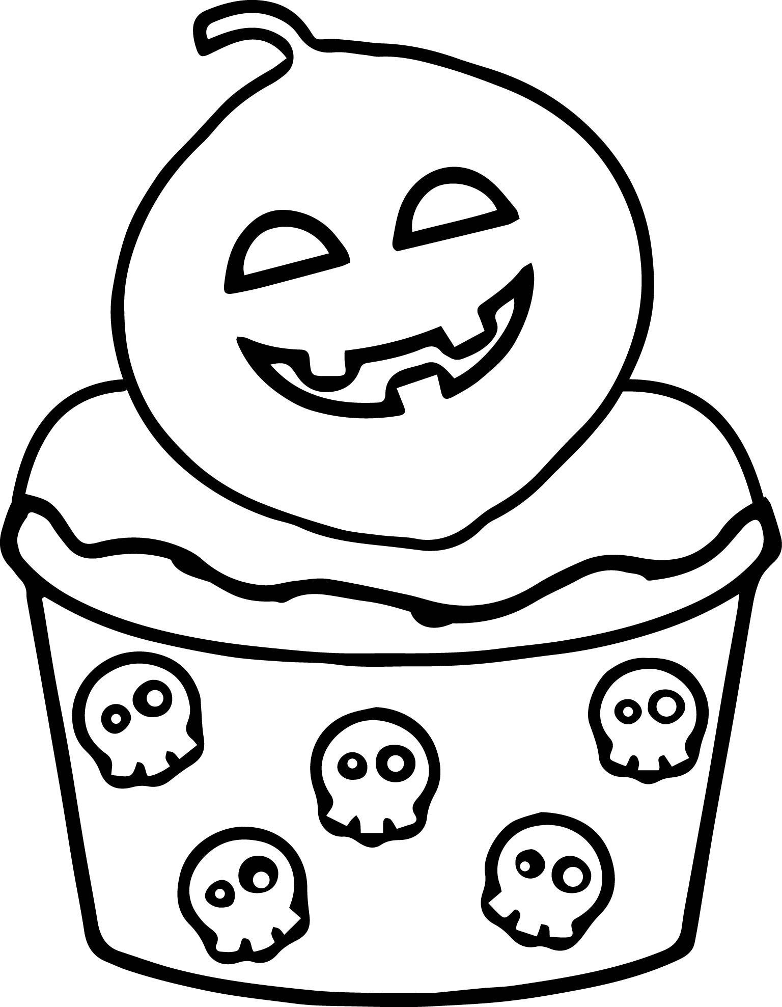 scream halloween cupcake coloring page wecoloringpage