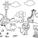 Set Of Cartoon Animal Paradise Scene Coloring Page